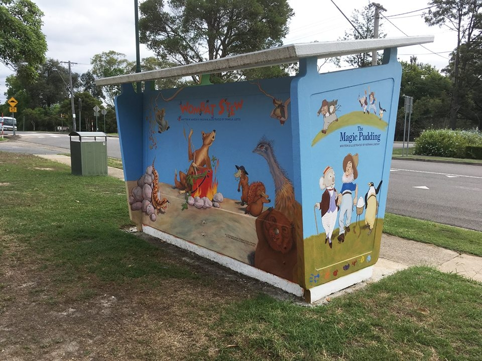 Bus shelter replaced outside Glenbrook Cinema - painted by local artist Jayne Shepherd